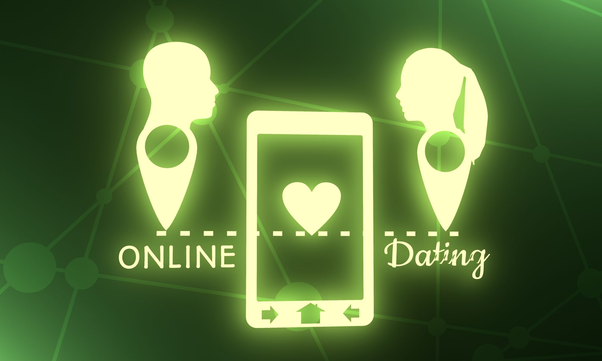 Online-Dating App mit Männer und Frauen Kopf
