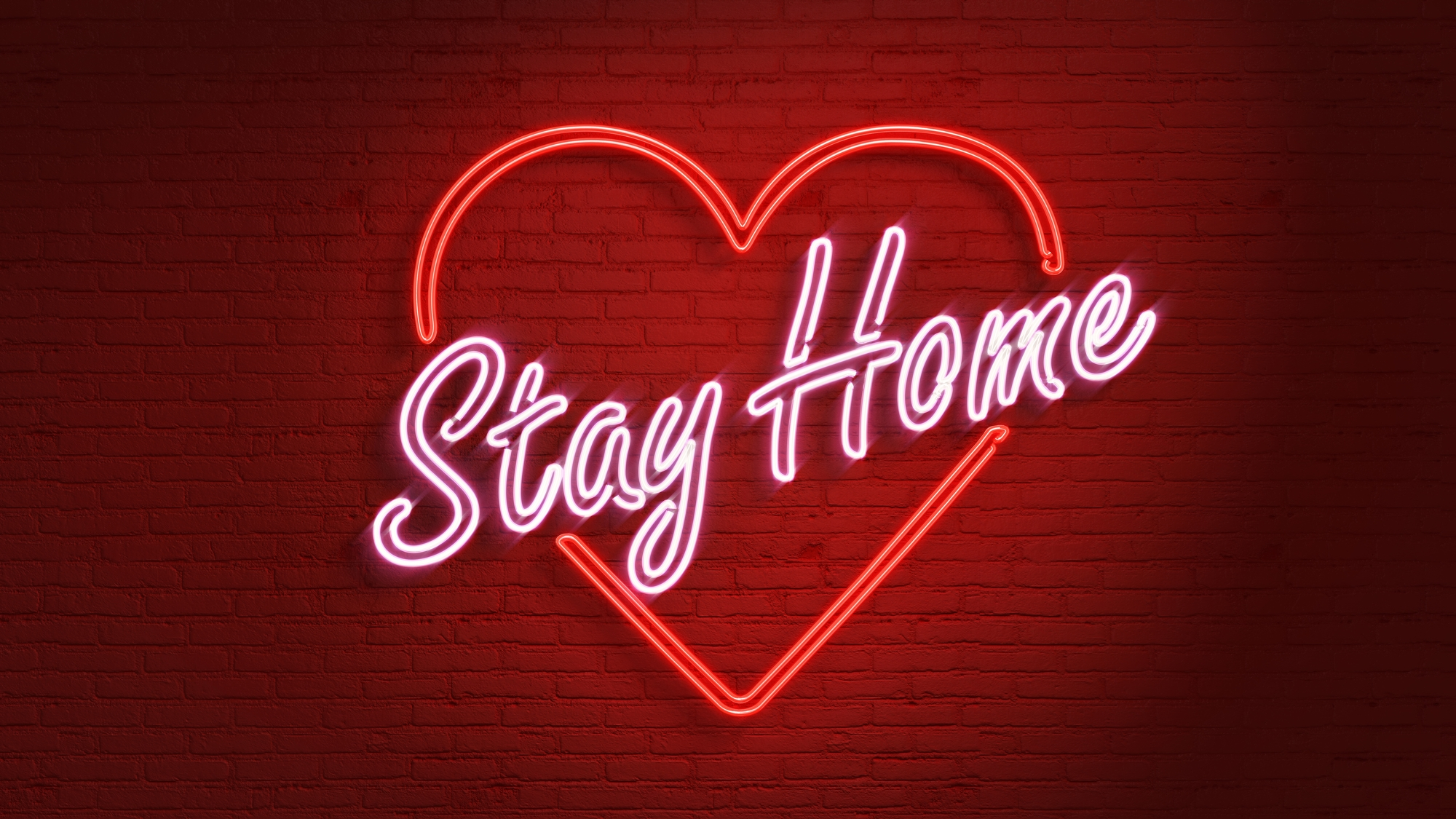 Corona - Stay at home leuchtreklame mit Herz
