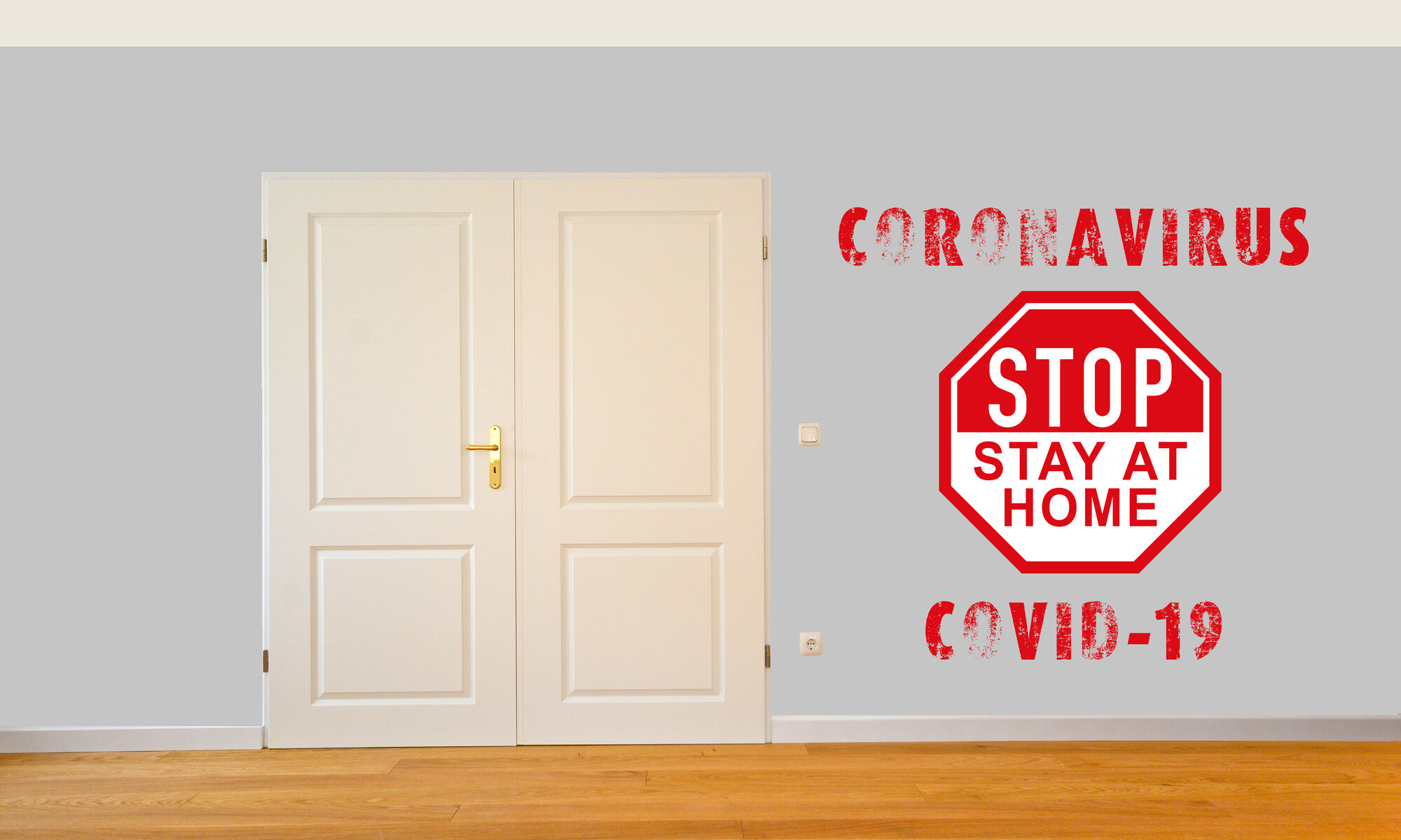 Stopschild mit Corona Schriftzug